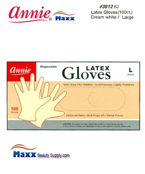 Annie Latax Gloves(100 ct) Cream White 3812 - Large