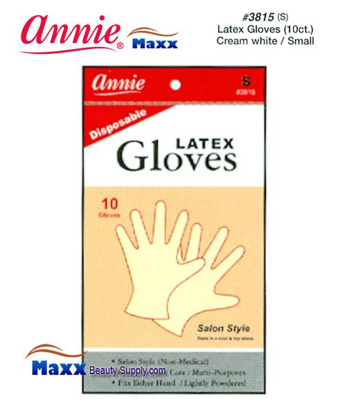 Annie Latax Gloves(10 ct) Cream White 3815 - Small