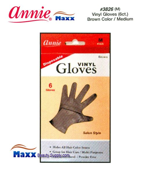 Annie Latax Gloves(6 ct) Vinyl Gloves Brown Color 3826 - Medium