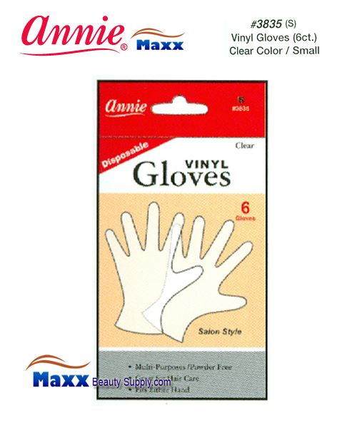 Annie Latax Gloves(6 ct) Vinyl Gloves Clear Color 3835 - Small