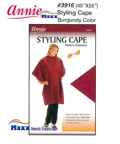 Annie 3916 Styling Cape Velcro Closure - Burgundy Color