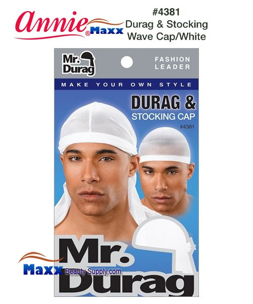 Annie MR Durag & Stocking Wave Cap - 4381(White)