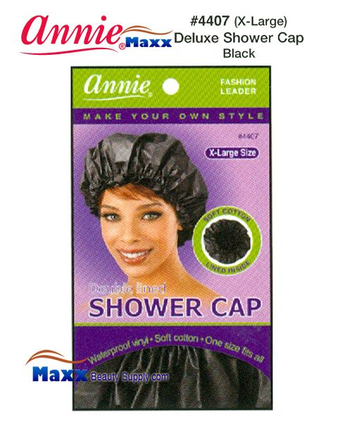 Annie Shower Cap - Deluxe Double Lined - 4407(Black)