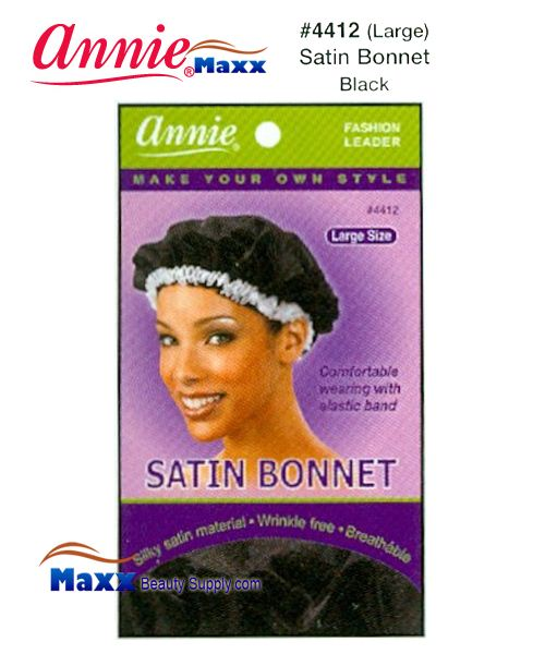 Annie Satin Bonnet Large - 4412(Black)