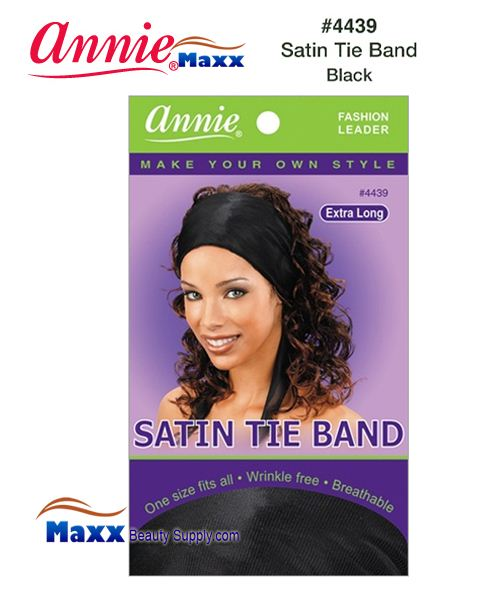 Annie Satin Tie Band Xtra Long - 4439(Black)