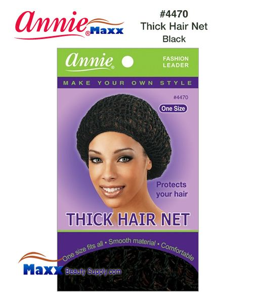 Annie Hair Net - Thick Hair Net - 4470(Black)