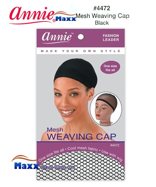 Annie Mesh Weaving Cap with Closed Top - 4472(Black)