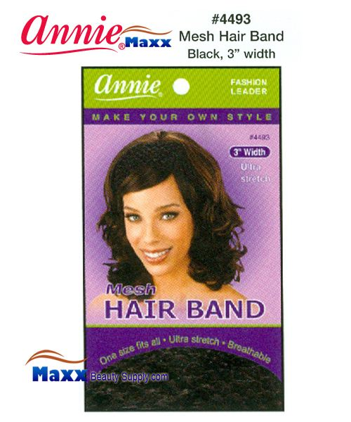 "Annie Hair Band - Mesh 3"" Wide - 4493(Black)"