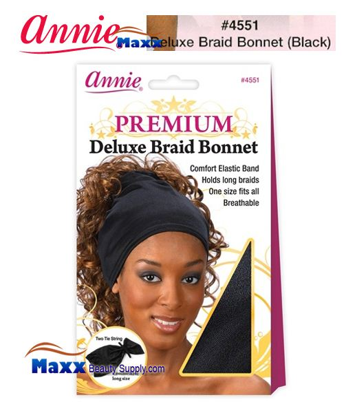 Annie Premium Deluxe Women #4551 Braid Bonnet - Black