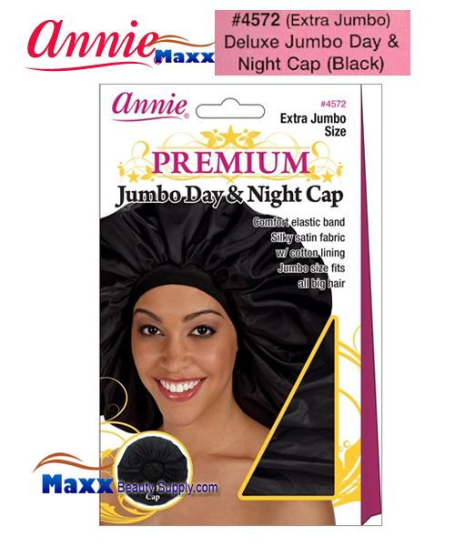 Annie Premium Deluxe Women #4572 Extra Jumbo Day & Night Cap - Black