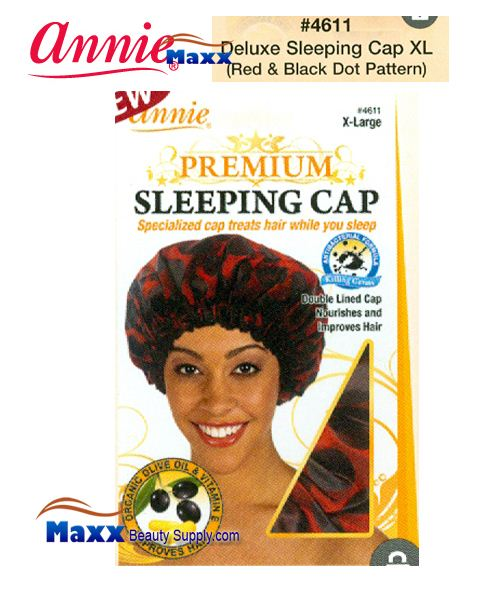 Annie Premium Women #4611 Sleeping Cap with Olive Oil X-Large - Red & Black Dot