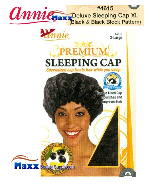 Annie Premium Women #4615 Sleeping Cap with Olive Oil X-Large - Black & Black Block