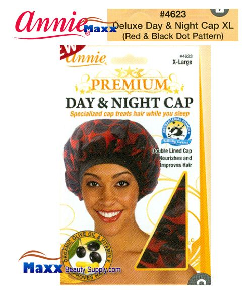 Annie Premium Women #4623 Day & Night Cap with Olive Oil X-Large - Red & Black Dot