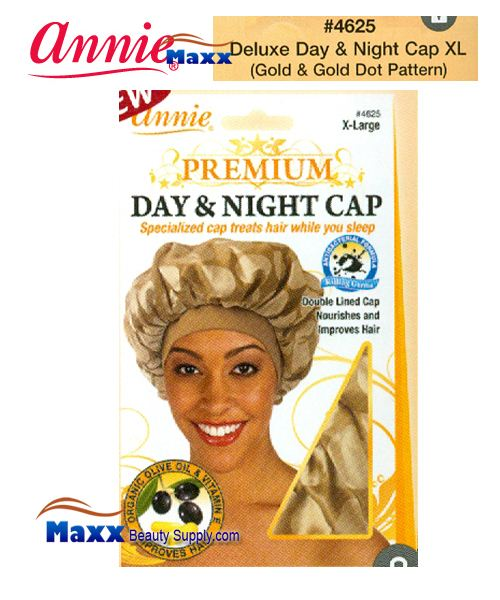 Annie Premium Women #4625 Day & Night Cap with Olive Oil X-Large - Gold & Gold Dot