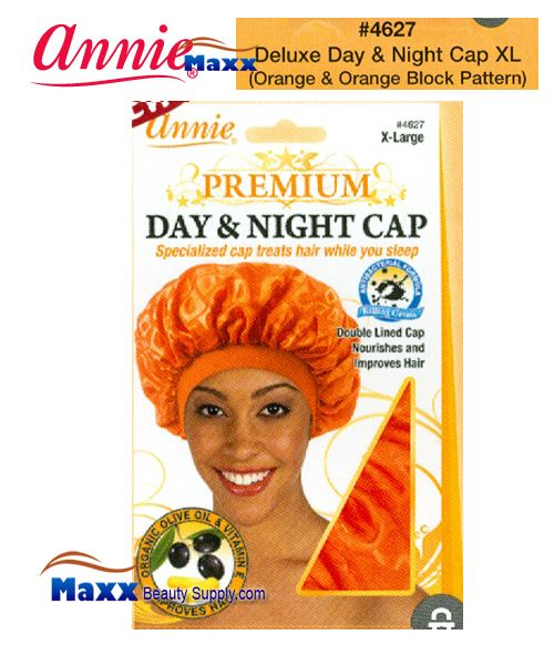 Annie Premium Women #4627 Day & Night Cap with Olive Oil X-Large - Orange & Orange Block