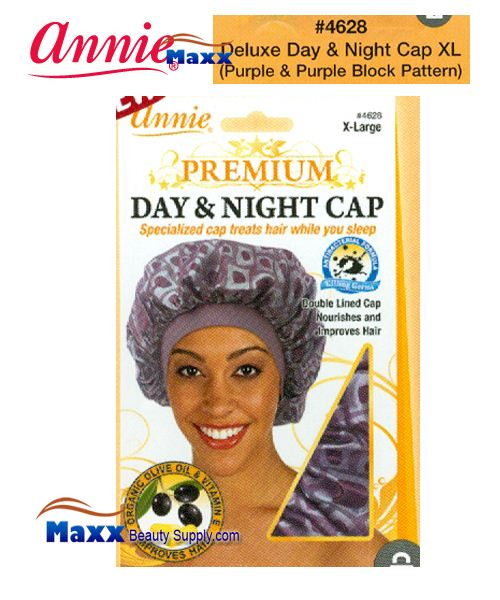 Annie Premium Women #4628 Day & Night Cap with Olive Oil X-Large - Purple & Purple Block