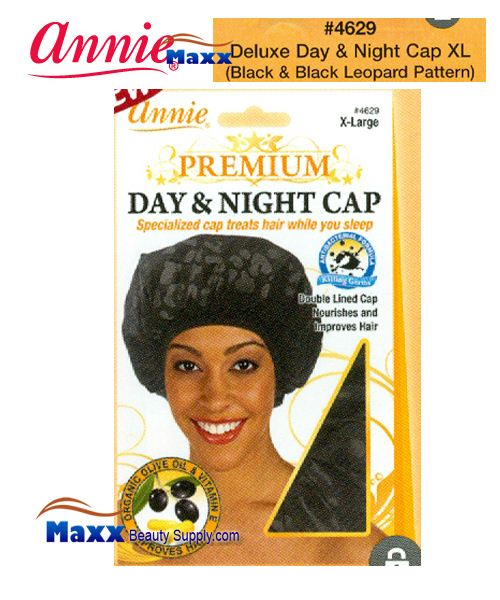 Annie Premium Women #4629 Day & Night Cap with Olive Oil X-Large - Black & Black Leopard