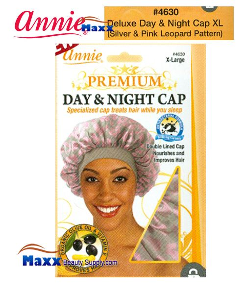 Annie Premium Women #4630 Day & Night Cap with Olive Oil X-Large - Silver & Pink Leopard
