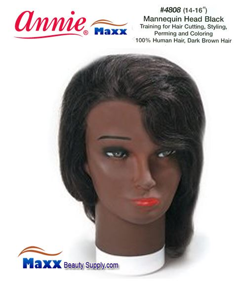 "Annie Mannequin Head Black Human Hair - 4808(8-10"")"