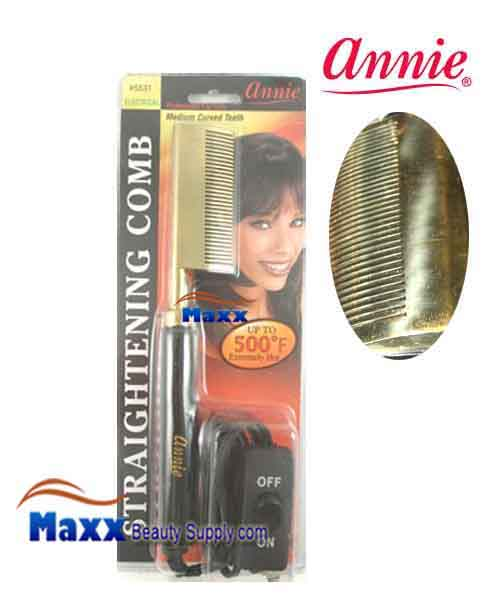 Annie #5531 Electrical Straightening Comb - Curved head, Medium Teeth