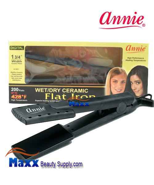 "Annie #5601 Wet & Dry Ceramic Flat Iron - 1 3/4""(Black)"
