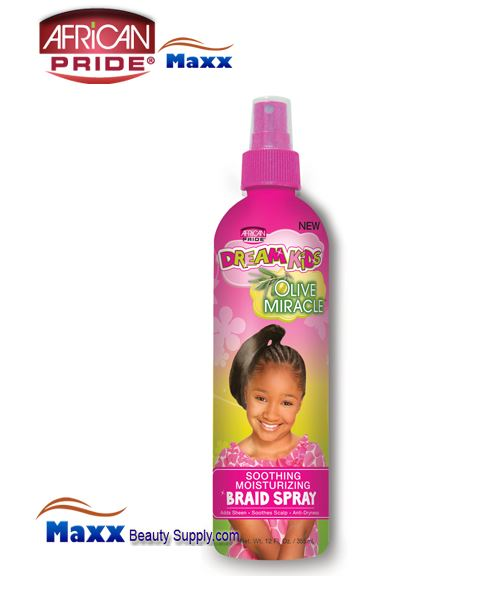 African Pride Dream Kids Olive Miracle Soothing Moisturizing Braid Spray 12oz(Bottle)