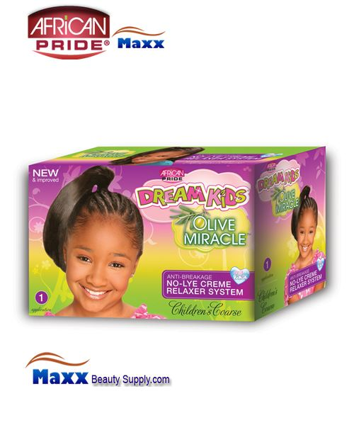 African Pride Dream Kids Olive Miracle No-Lye Creme Relaxer System Kit 1 App – Coarse