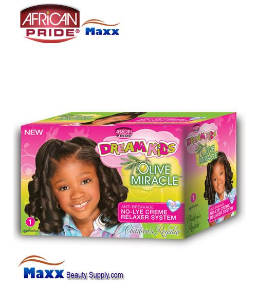 African Pride Dream Kids Olive Miracle No-Lye Creme Relaxer System Kit 1 App – Regular
