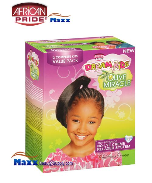 African Pride Dream Kids Olive Miracle No-Lye Creme Relaxer System Kit 2 App – Coarse