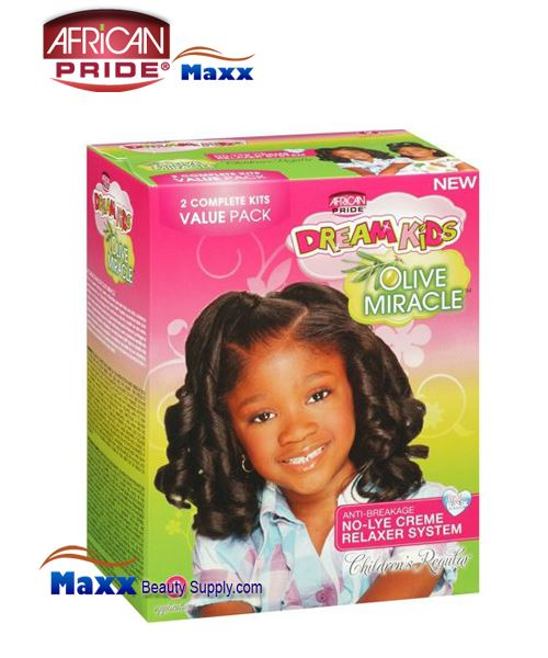 African Pride Dream Kids Olive Miracle No-Lye Creme Relaxer System Kit 2 App – Regular