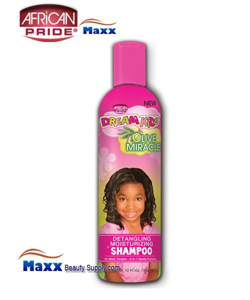 African Pride Dream Kids Olive Miracle Detangling Moisturizing Shampoo 12oz(Bottle)