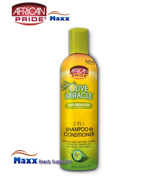 African Pride Olive Miracle 2-in-1 Shampoo & Conditioner 12oz - Bottle