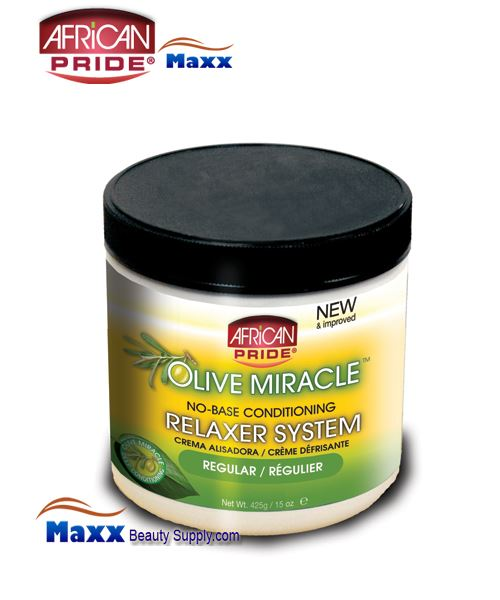 African Pride Olive Miracle No Base Conditioning Relaxer System 15oz(Jar) - Regular