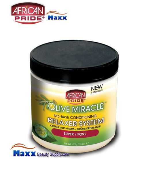 African Pride Olive Miracle No Base Conditioning Relaxer System 15oz(Jar) - Super