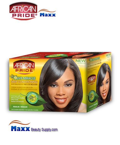 African Pride Olive Miracle Deep Conditioning Anti-Breakage No-Lye Relaxer 1App Kit - Regular