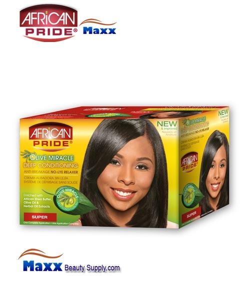 African Pride Olive Miracle Deep Conditioning Anti-Breakage No-Lye Relaxer 1App Kit - Super