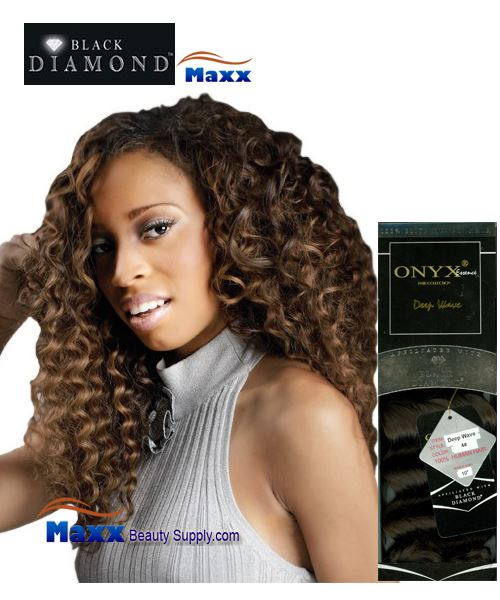 "Black diamond ONYX Essence Human Hair Weave - Deep Wave 10"" ~ 14"""