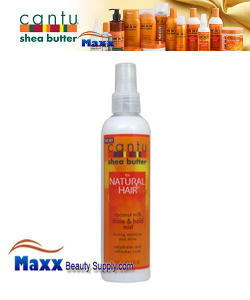 Cantu Shea Butter for Natural Hair Coconut Milk Shine & Hold Mist 8oz Bottle