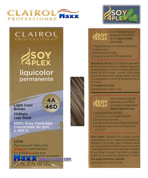 Clairol Soy 4Plex Liquicolor 4A/46D - Light Cool Brown 2oz