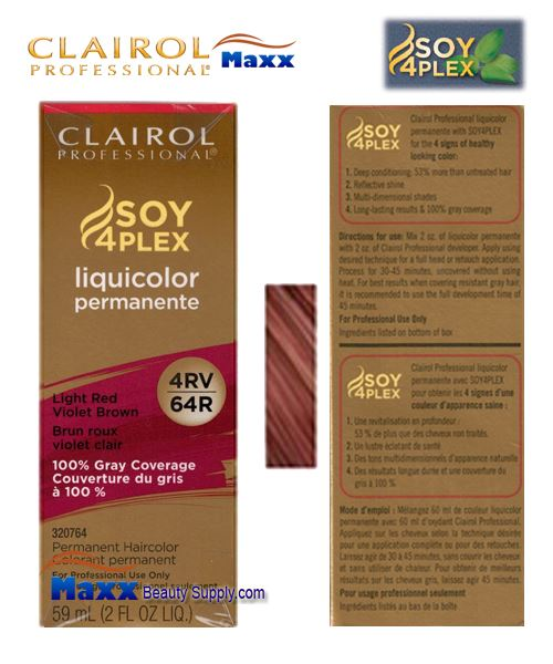 Clairol Soy 4Plex Liquicolor 4RV/64R - Light Red Violet Brown 2oz
