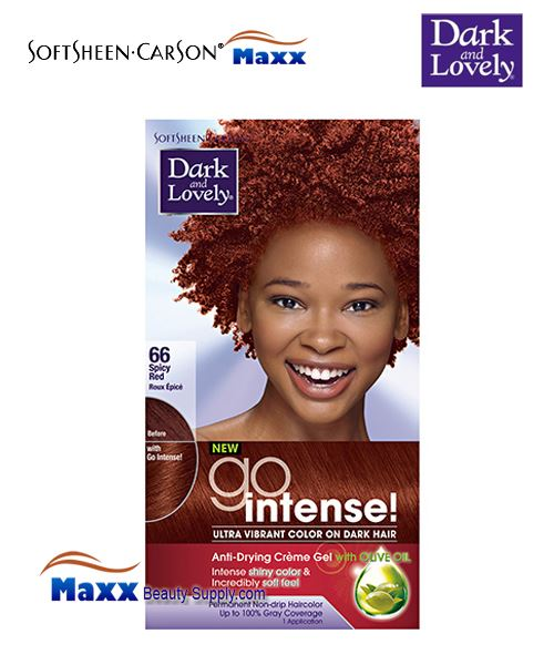 Dark and Lovely Go Intense Ultra Vibrant color on dark hair Anti-Drying Creme Gel with Olive Oil Intense shiny color & incredibly soft feel Permanent non-drip hair color Upto % Gray coverage S.
