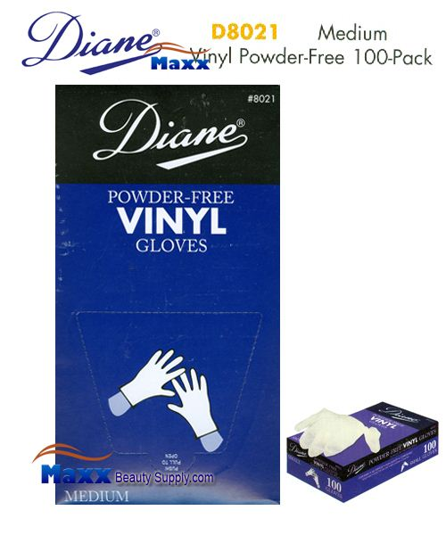 Diane Glovers Powder Free Vinyl Glovers 100 Pack - D8021 Medium Size