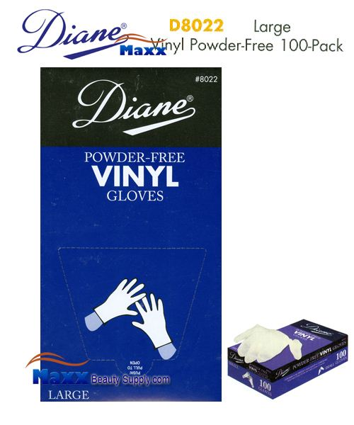 Diane Glovers Powder Free Vinyl Glovers 100 Pack - D8022 Large Size