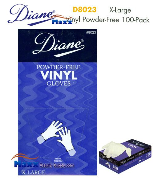 Diane Glovers Powder Free Vinyl Glovers 100 Pack - D8023 X-Large Size