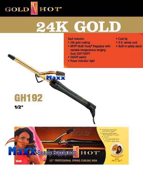 Gold N Hot 24K Gold Coated #GH192 Spring Curling Iron - 1/2""