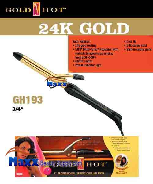 Gold N Hot 24K Gold Coated #GH193 Spring Curling Iron - 3/4""