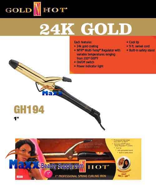 Gold N Hot 24K Gold Coated #GH194 Spring Curling Iron - 1""