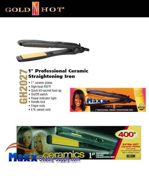 Gold N Hot #GH2027 Ceramics Straightening Flat Iron - 1""