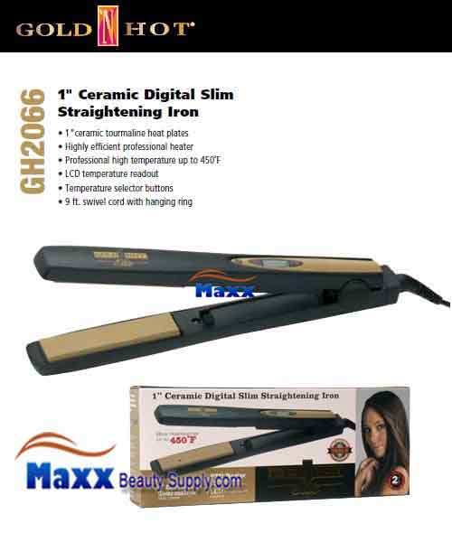 Gold N Hot #GH2066 Ceramic Digital Slim Straightening Flat Iron - 1""