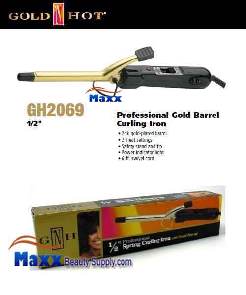 Gold N Hot #GH2069 Gold Barrel Spring Curling Iron - 1/2""